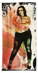 Beach Towel featuring the digital art Mona 2 by Mark Baranowski