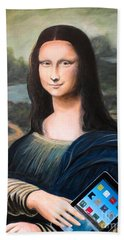 Mona Lisa With Ipad Beach Towel