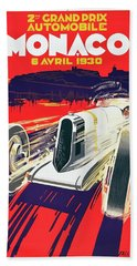 Monaco Grand Prix 1930 Beach Towel by Taylan Apukovska