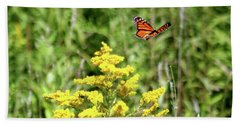 Beach Sheet featuring the photograph Monarch And Goldenrod by The Art of Alice Terrill