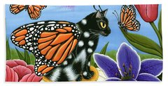 Monarch Butterfly Fairy Cat Beach Towel
