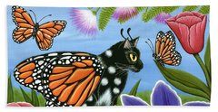 Monarch Butterfly Fairy Cat Beach Sheet