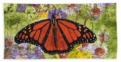Monarch Butterfly On Purple Flowers Watercolor Batik Beach Towel