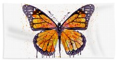 Monarch Butterfly Watercolor Beach Towel by Marian Voicu