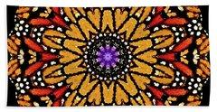 Monarch Butterfly Wings Kaleidoscope Beach Sheet by Carol F Austin