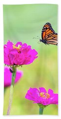 Monarch In Flight 1 Beach Towel