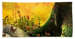 Monarch Meadow Beach Towel by Ally  White