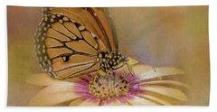 Monarch On A Daisy Mum Beach Sheet