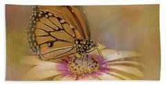 Monarch On A Daisy Mum Beach Towel