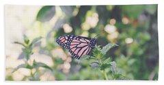 Monarch On Mint Beach Towel
