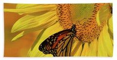Monarch On Sunflower Beach Towel