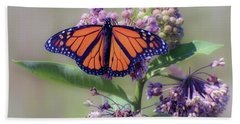 Beach Sheet featuring the photograph Monarch On The Milkweed by Kerri Farley