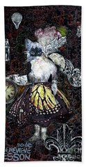 Beach Towel featuring the mixed media Monarch Steampunk Goddess by Genevieve Esson