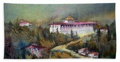 Monastery In Mountain Beach Sheet by Samiran Sarkar