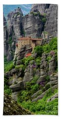 Monastery Of Saint Nicholas Of Anapafsas, Meteora, Greece Beach Towel