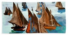 Monet Fishing Boats Calm Seas Beach Towel