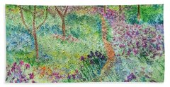 Monet Inspired Iris Garden Beach Towel