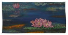 Monet Inspired Water Lilies With Gold Fish In A Pond Beach Sheet