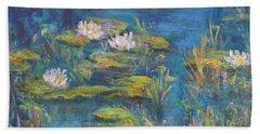 Monet Style Water Lily Marsh Wetland Landscape Painting Beach Sheet