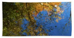 Beach Towel featuring the photograph Monet's Autumn Pool by Lon Dittrick
