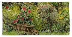 Monet's Garden Wheelbarrel Beach Towel