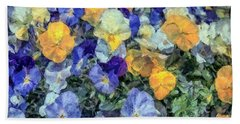 Monet's Pansies Beach Towel