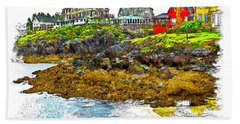 Beach Towel featuring the photograph Monhegan West Shore by Tom Cameron