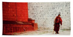 Monk In Tashilhunpo Monastery Shigatse Tibet Yantra.lv Beach Towel