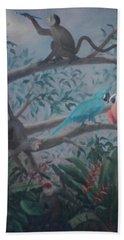 Monkey Artist Painting The Moon  Beach Towel