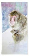 Monkey In Meditation Beach Towel by Yoshiko Mishina