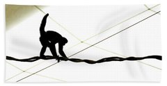 Monkey On A Wire Beach Towel