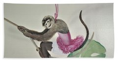 Monkey Swinging In The Trees Beach Towel