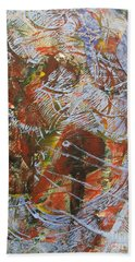 Mono Print 002 - Elephant In Misty Jungle Beach Towel by Mudiama Kammoh