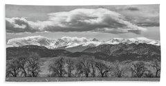Monochrome Rocky Mountain Front Range Panorama Range Panorama Beach Sheet by James BO Insogna