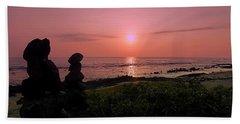Beach Sheet featuring the photograph Monoliths At Sunset by Lori Seaman