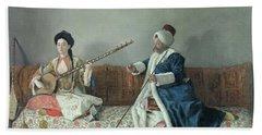Monsieur Levett And Mademoiselle Helene Glavany In Turkish Costumes Beach Towel