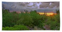 Beach Towel featuring the photograph Monsoon Sunset H56 by Mark Myhaver