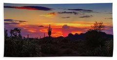 Beach Towel featuring the photograph Monsoon Sunset by Rick Furmanek
