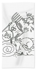 Monster Getting Chased Beach Towel