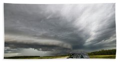 Monster Storm Near Yorkton Sk Beach Towel