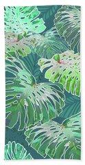 Beach Towel featuring the digital art Monstera Jungle Teal by Karen Dyson