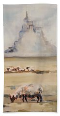 Mont Saint Michel In The Morning Beach Towel