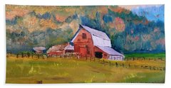 Montana Barn Beach Towel by Larry Hamilton