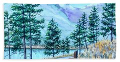 Montana Lake Como With Bench Beach Towel