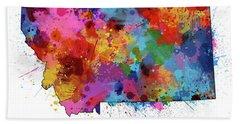 Montana Map Color Splatter Beach Towel