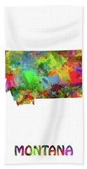 Montana Map Watercolor Beach Towel