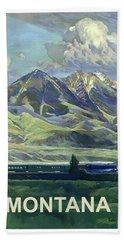 Montana, Railway, Mountains Beach Towel