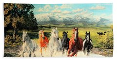 Montana Range Horses Beach Towel