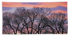 Beach Towel featuring the photograph Montana Sunrise Tree Silhouette by Jennie Marie Schell