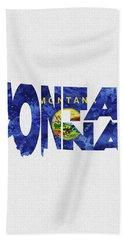 Montana Typographic Map Flag Beach Towel